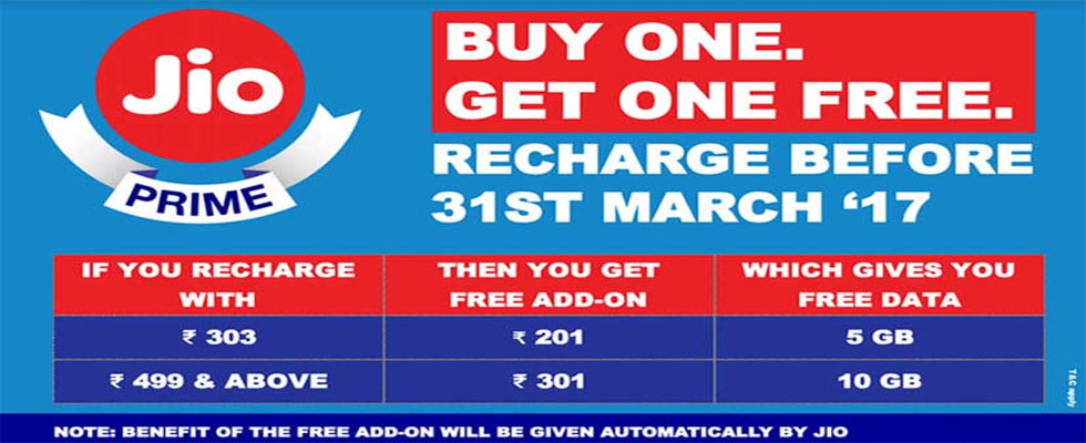 Jio Recharge offers Online
