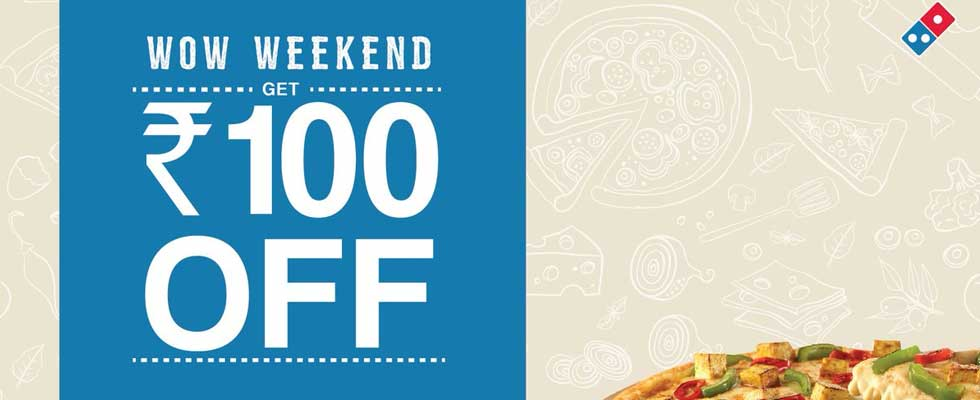 Dominos Rs 100 OFF Coupon Code Free. Get it Today