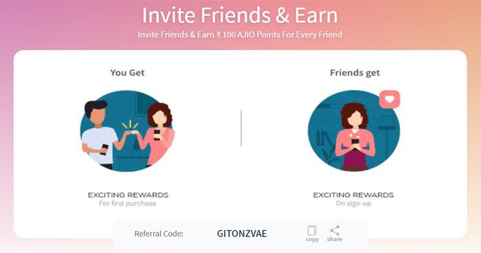 ajio refer and earn program